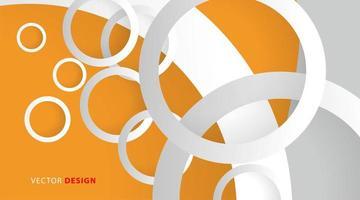 anelli di cerchio bianco su sfondo giallo arancio vettore