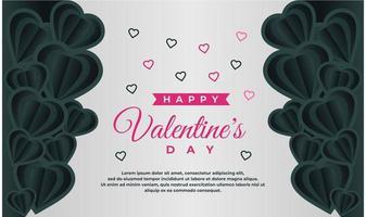 felice modello di banner di san valentino con sfondo scuro e grigio