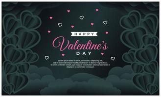 felice modello di banner di san valentino con sfondo scuro