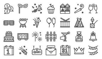 set di icone di linea di elementi di festa di capodanno vettore