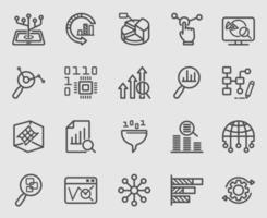 set di icone di linea di analisi dei dati vettore