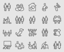 set di icone di linea di relazione familiare vettore