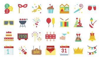 set di icone piatto di elementi di festa di Capodanno vettore