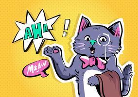 Pop art di vettore di carattere comico del gatto