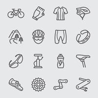 set di icone di linea di ciclismo vettore