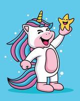 espressione di un unicorno simpatico cartone animato che ride con una stella vettore