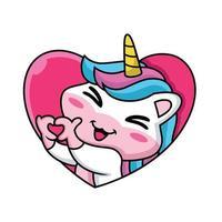 Cartoon carino unicorn facendo segno di cuore sullo sfondo del cuore vettore