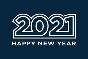 felice anno nuovo 2021 testo design. illustrazione vettoriale di vacanza. isolato su sfondo blu marino.
