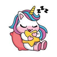 simpatico cartone animato unicorno che dorme con la stella vettore