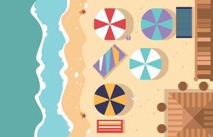 Vettore piano dell'illustrazione di vista aerea della spiaggia