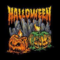 illustrazione di zucche di Halloween vettore