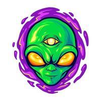 illustrazione del mostro della mascotte della testa aliena vettore