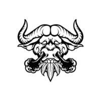 bufalo animale con narice fumo vettore
