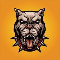 arrabbiato cane pitbull mascotte illustrazione vettoriale