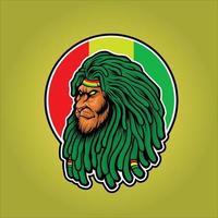testa di leone con mascotte rasta dreadlocks