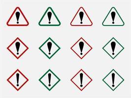 attenzione pericolo o segnale di avvertimento di pericolo con punto esclamativo e cornice a forma di triangolo. vettore