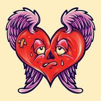 San Valentino isolato cuore spezzato vettore