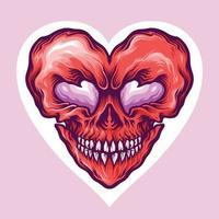 disegno del giorno dell'amore del cranio di San Valentino vettore