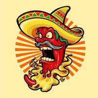 peperoncino rosso caldo messicano con mascotte cappello vettore