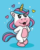 simpatico cartone animato timido unicorno vettore