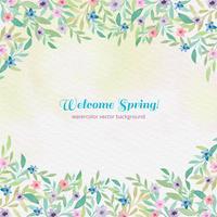 Vettore acquerello benvenuto primavera sfondo