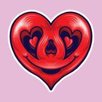 cuore rosso sorridente in stile emoticon vettore