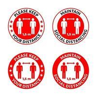 tieni le distanze: mantieni le distanze sociali, icona di istruzioni contro la diffusione del coronavirus vettore