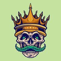 teschio arrabbiato corona d'oro con baffi di cannabis vettore
