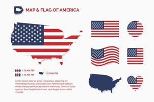 mappa e bandiera dell'america vettore