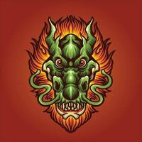 testa di drago con illustrazione di capelli di fuoco vettore