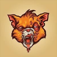illustrazione della mascotte del vampiro del gatto delle zombie