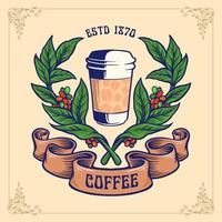 tazza di caffè con rami e illustrazione banner vettore