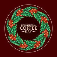 illustrazione della giornata internazionale del caffè di mandala vettore