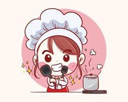 sorridente felice pasticcere femminile. lo chef donna sta cucinando. illustrazione vettoriale disegnato a mano