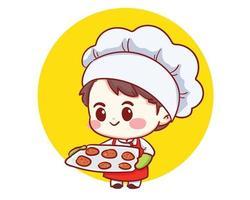carino panificio chef ragazzo tenendo il vassoio con biscotti appena sfornati. ragazzo in uniforme e cappello da chef. illustrazione di arte del fumetto del personaggio dei cartoni animati vettore