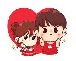 coppia mini cuore mano segno felice San Valentino personaggio dei cartoni animati illustrazione vettore