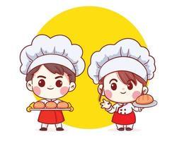 carino panificio chef ragazzo e ragazza che trasportano il pane sorridente illustrazione di arte del fumetto vettore