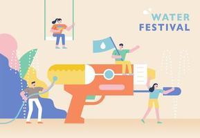 poster del festival della pistola ad acqua estiva. vettore