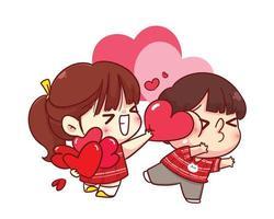 ragazza carina dà il suo cuore al suo ragazzo illustrazione personaggio dei cartoni animati di San Valentino felice vettore