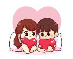 coppia di amanti che si siedono con un cuscino e che tengono i cuori illustrazione felice del personaggio dei cartoni animati di San Valentino vettore
