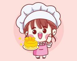 chef ragazza sorridente che cucina, tenendo la torta, illustrazione di arte del fumetto di panetteria vettore