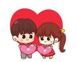 coppia di amanti che tengono il cuore insieme illustrazione del personaggio dei cartoni animati di San Valentino felice vettore