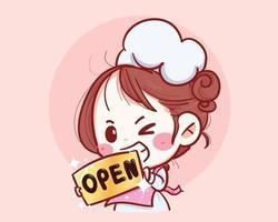 chef femminile tenere segno aperto nella parte anteriore dell'illustrazione disegnata a mano di vettore del negozio