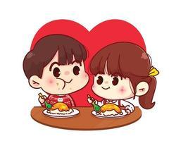 coppia di amanti che mangiano insieme illustrazione del personaggio dei cartoni animati di San Valentino felice vettore