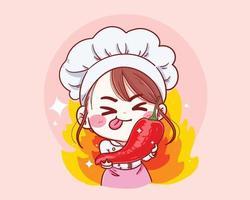 chef femminile che tiene il peperoncino rosso fumetto disegnato a mano illustrazione vettoriale