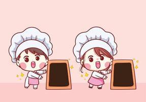 simpatico cartone animato di ragazzo e ragazza di chef di panetteria con illustrazione di arte del personaggio della scheda del menu vettore