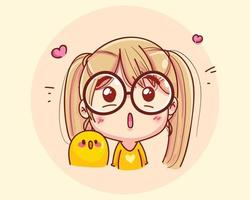 illustrazione di cartone animato ragazza eccitata vettore