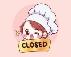 lo chef femminile tiene un segno vicino nella parte anteriore dell'illustrazione vettoriale disegnato a mano negozio.