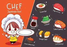 lo chef carino tiene il piatto con sushi, illustrazione di tiraggio della mano del fumetto di cibo giapponese vettore