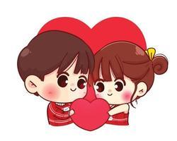 coppia di amanti che tengono insieme cuore rosso felice illustrazione del personaggio dei cartoni animati di San Valentino vettore